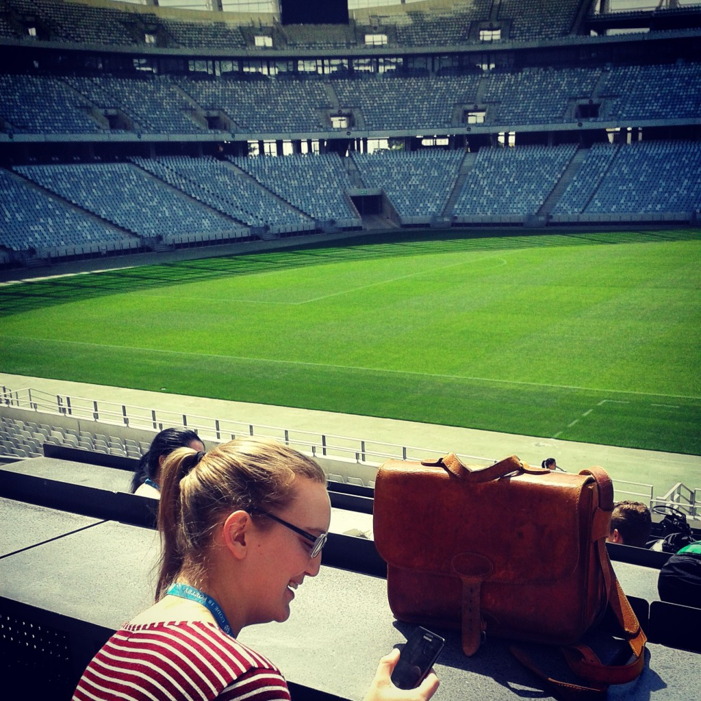 Liz and her hipster briefcase at the awesome venue - Greenpoint Stadium